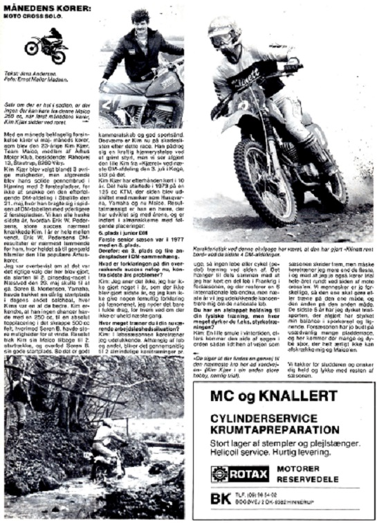 Interview i Motorbladet med Kim i 1983 sæsonen.