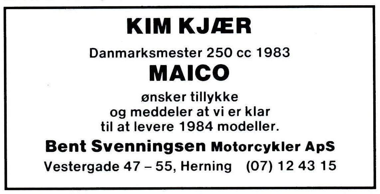 Maico importør Bent Svenningsen var ikke sen til at indrykke denne annonce i Motorbladet.