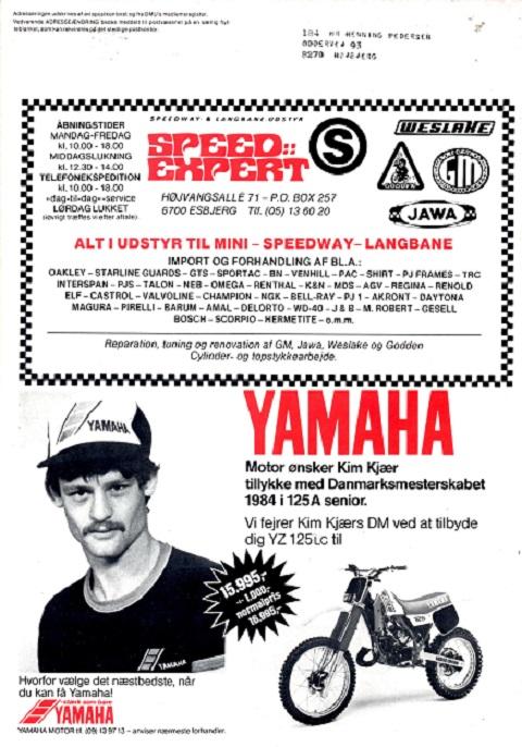 Kim var suveræn i DM 1984, så allerede i julinummer af Motorbladet kunne Yamaha bringe denne annonce på bagsiden.