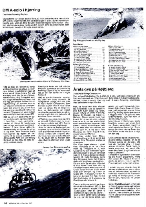 Motorbladet beskriver de 2 sidste afdelinger af DM 87, hvor Kim året igennem havde en hård fight med Claus M. Nielsen