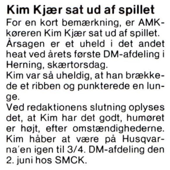 Kim blev skadet i 1. DM afd. 90. MB maj.