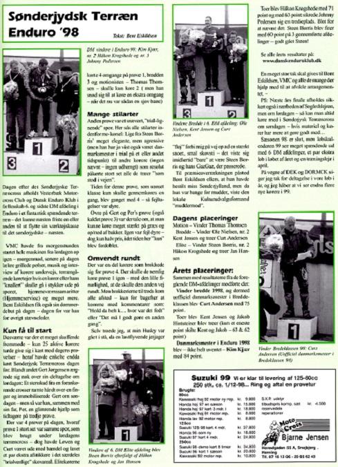 Efter sidste afd. af DM i Enduro kunne Kim kåres som Dansk Mester 1998. MB nov. img1.