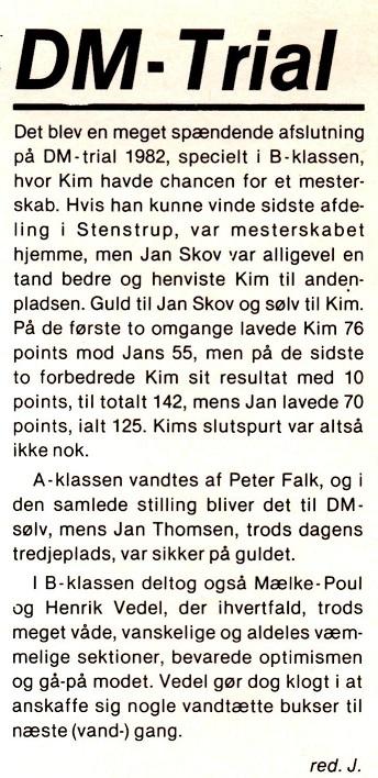 I DM junior 1982 blev Kim nr. 2. Her er lidt tekst om det i klubbladet.