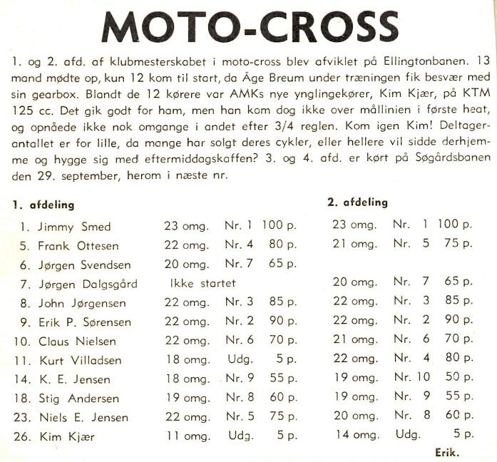 Klubbladsreferatet fra Kims første løb.