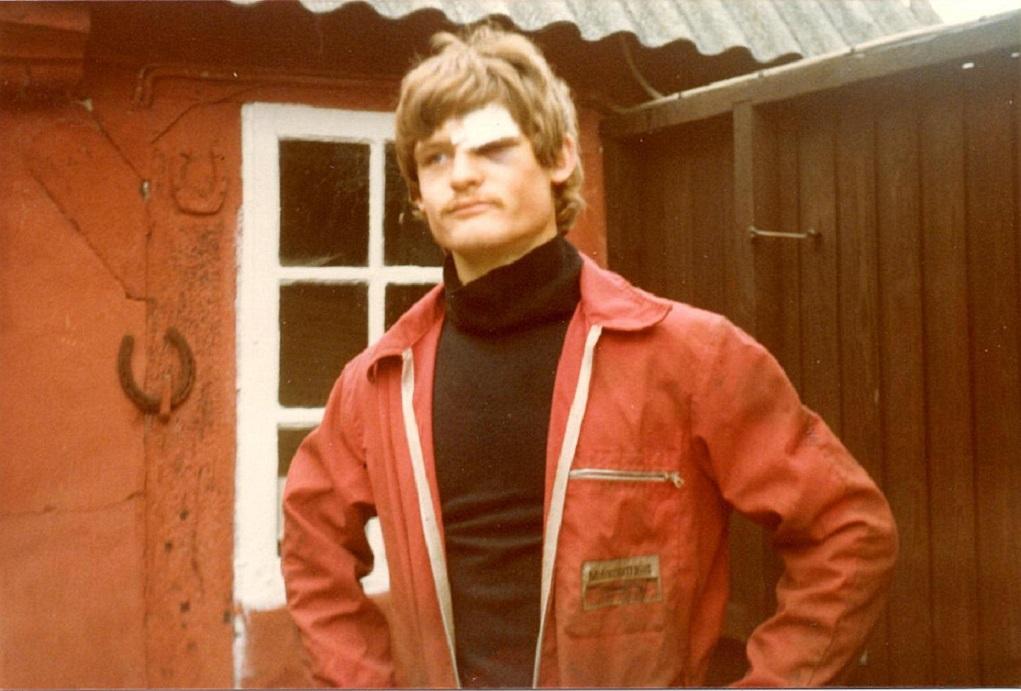 Speedcross I Hinnerup 1979 gav Kim en pæn flænge over øjet.