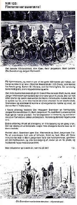 Holdleder Villy Poulsen skrev denne artikel om NM. MB nov. 77.