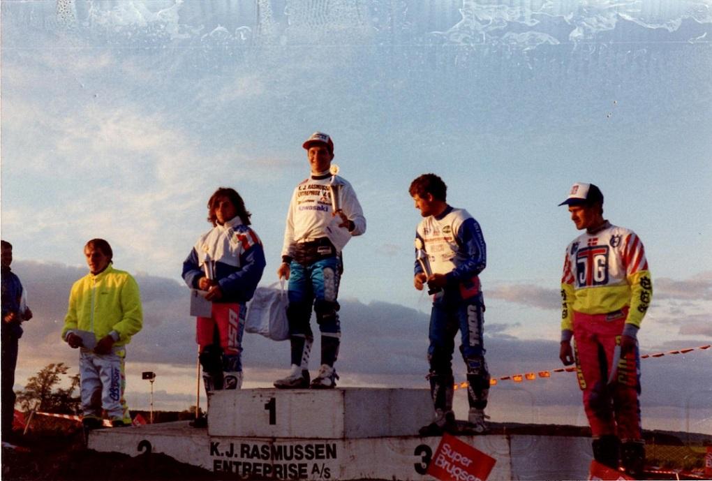 1991 Låsby præmieoverrækkelse.Fra v. Søren Ebbesen,Claus M,Søren B.,Kim,Martin Pedersen