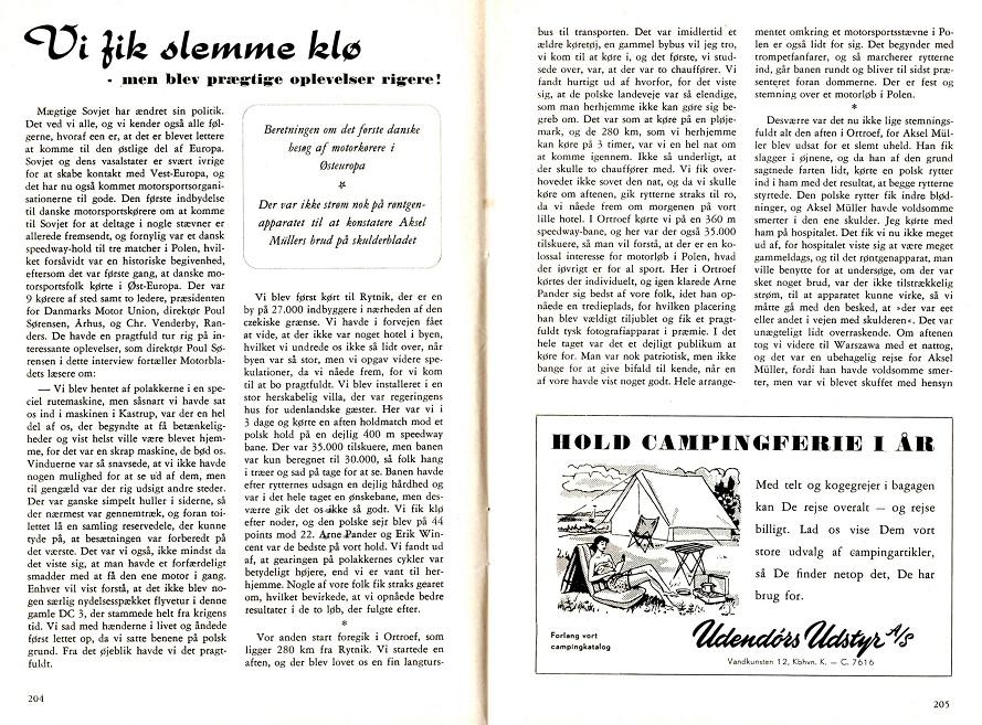 Poul Sørensen skrev denne artikel om turen til Motorbladets juli nummer 1956 img1.