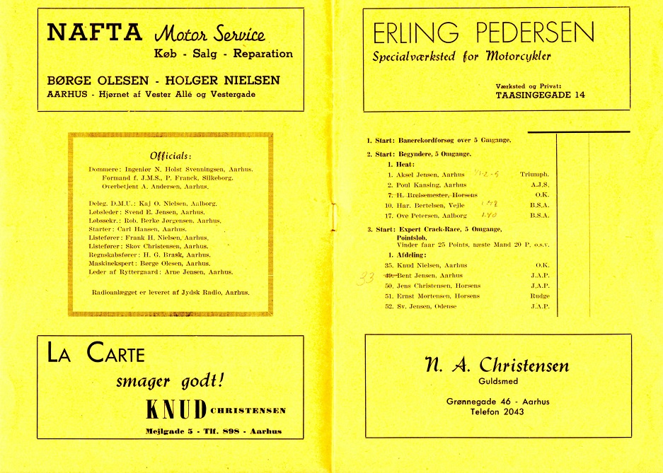 Naftas annonce fra Hem Odde programmet fra åbningsløbet juni 1946. Børge Olesen og Holger Nielsen står begge for firmaet.