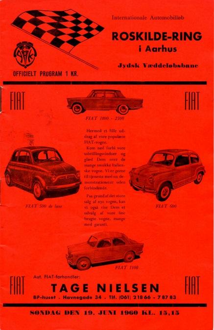 Programforsiden til løbet på JVB i 1960.