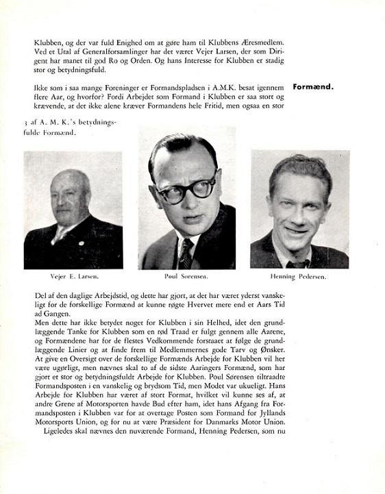 Jubilæumsskriftet ved AMK´s 25 års Jubilæum i 1955 bragte denne omtale med billede af Poul Sørensen.