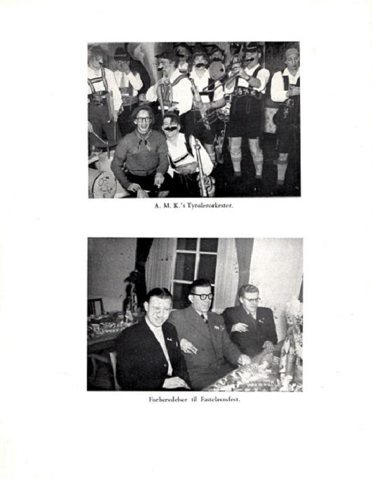 Fra Jubilæumsskriftet 1955. Øverst bestyrelsen som Tyrolerorkester Hasselager Kro 1954. Nederst festudvalget - Holger i midten, Elmstrøm Larsen til højre.