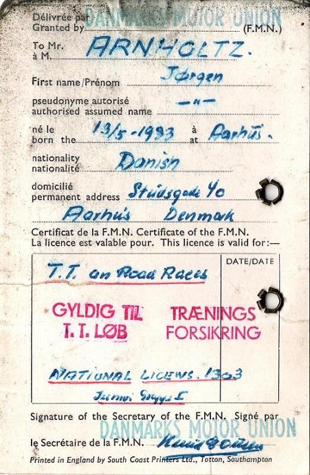 Dette er et internationalt licens, som Jørgen Arnholtz fik udstedt i 1966.