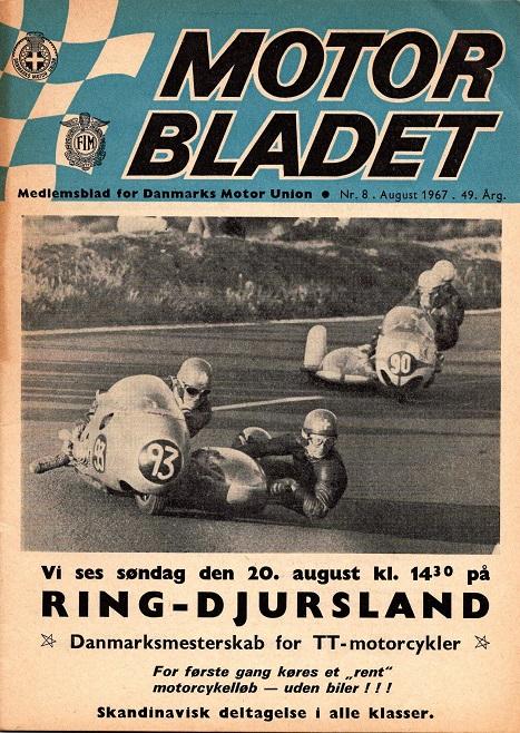 Reklame for DM 1967 på forsiden af Motorbladets augustnummer.