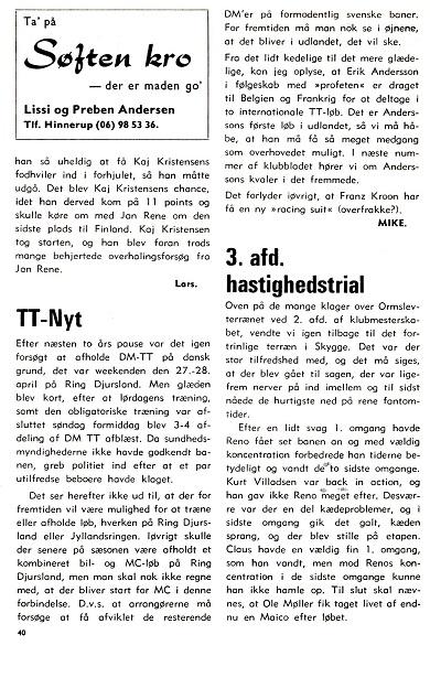 Omtale i klubblad 1974-06 af den aflyste DM afd. i april.