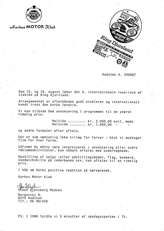 Der blev gjort et godt stykke PR-arbejde i 1987. For AMK var det Steen Flensborg Madsen, der trak hovedlæsset. Her en udsendelse omkring annoncetegning mm som var vedlagt et par programmer fra tidligere år.
