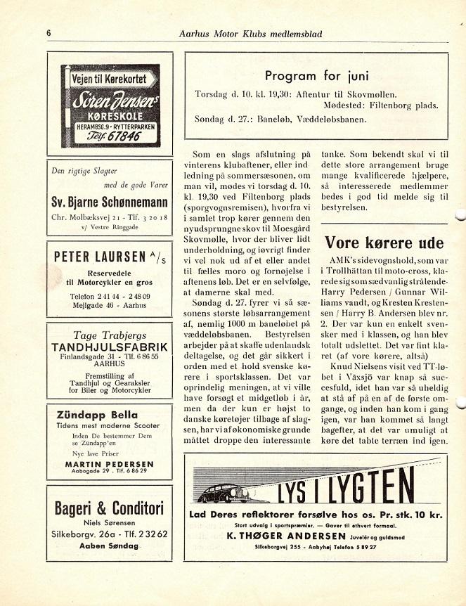Klubblad 1954 med løbsomtalen.
