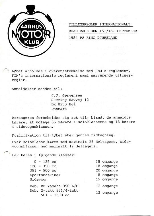 Løbets tillægsregler, der blev lavet i både en dansk og en engelsksproget udgave. img1