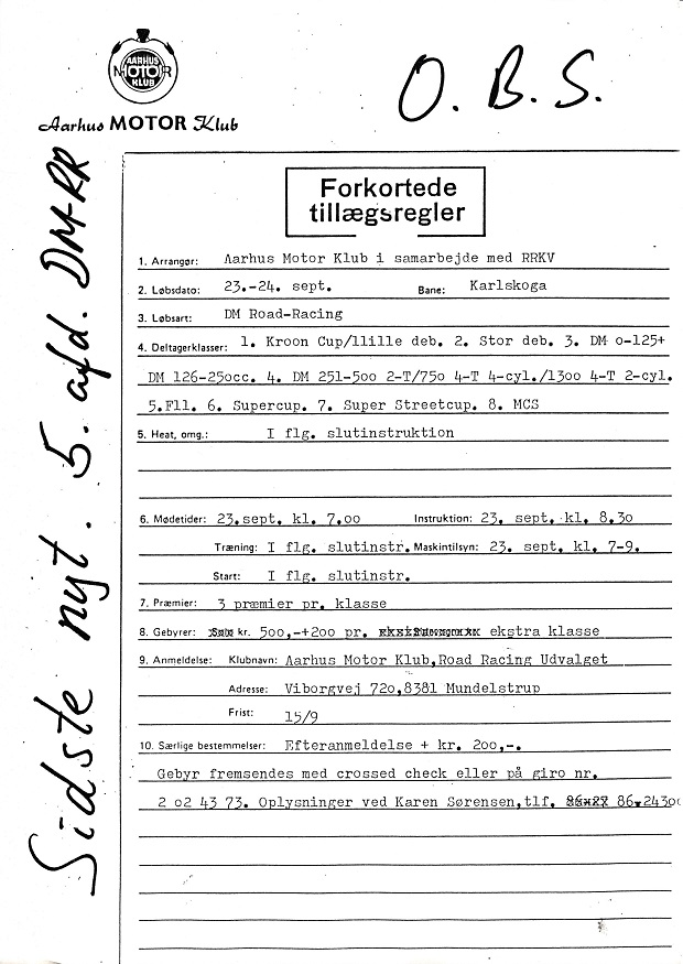 Denne skrivelse med forkortede tillægsregler blev omdelt blandt kørerne.