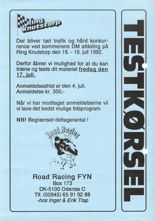 og RR-Fyn reklamerede for Ring Knutstorp på den anden side.