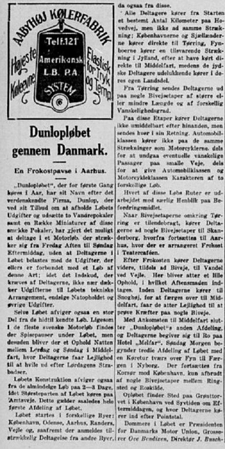 Stiften fortæller om det kommende Dunlop-løb. 1929-05-14