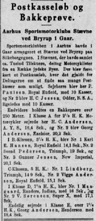 Resultatet fra Motorstævne I Velling Koller, hvor Lindberg vandt sin klasse 5HK i bakkeprøven.