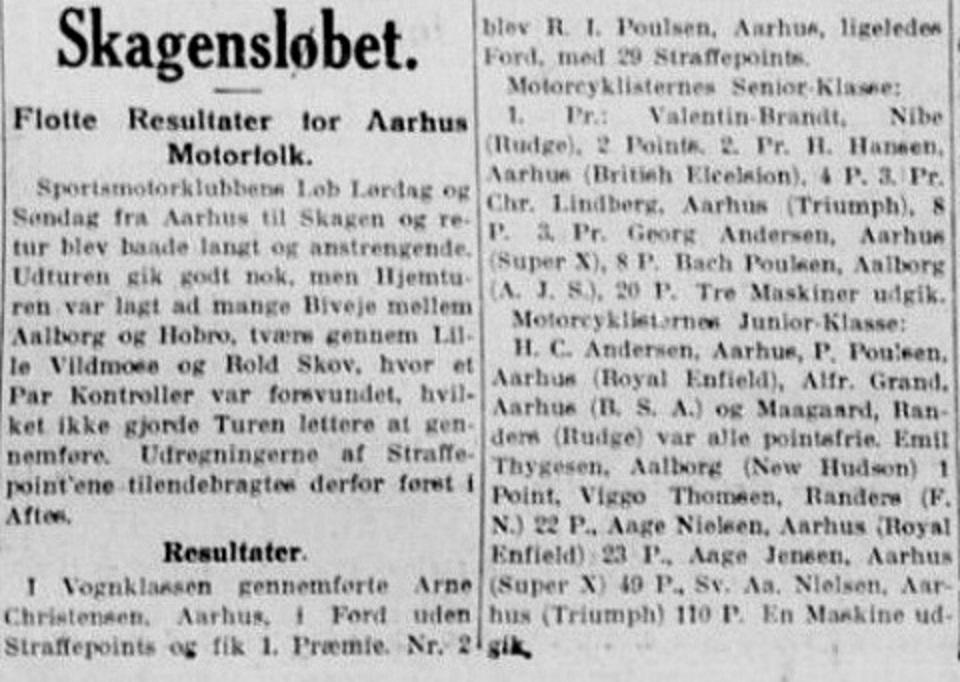 Skagensløbet 1930. En 3. plads til Lindberg.