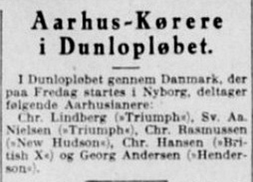 Dunlopløbet 1931 havde også Georg Andersen som deltager. Denne gang på Henderson.