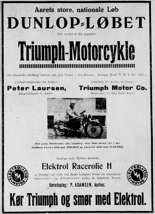 Den lokale Triumph forhandler Peter Laursen indrykkede denne avisannonce efter Lindbergs bedrift i 1931. 1931-05-06 Stiften