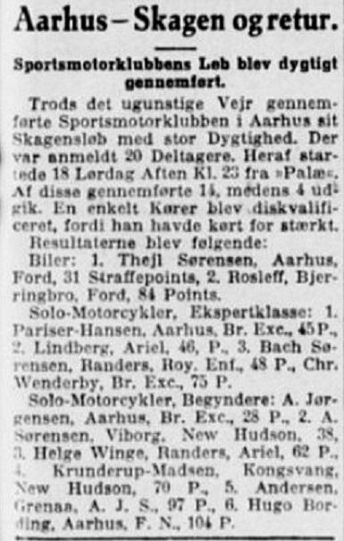 Pariser sejrer i Aarhus-Skagen på British Excelsior. 1931-08-24 Stiften.