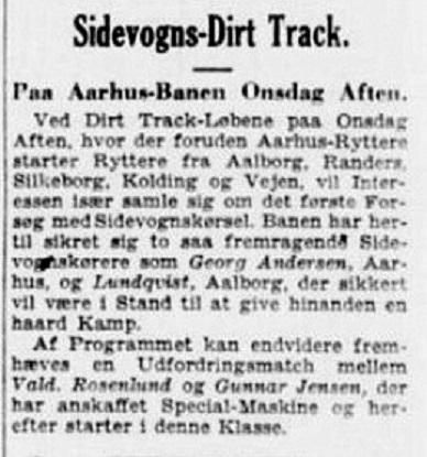 Georg Andersen lod sig lokke til en sidevognsoptræden på dirt-track banen i Aarhus.