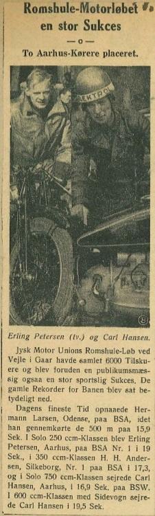 En artikel fra Roms Hule løbet i 1939, hvor både Erling Pedersen og Carl Hansen vandt.