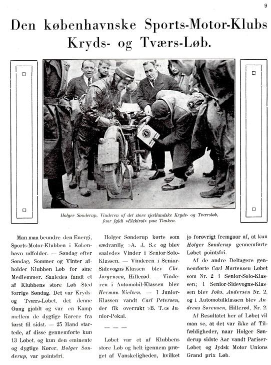 Jydsk Motors artikel fra Kryds og Tværsløbet 1930. 1930-03-21.
