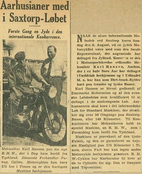 Foromtale af Saxtorp-løbet.
