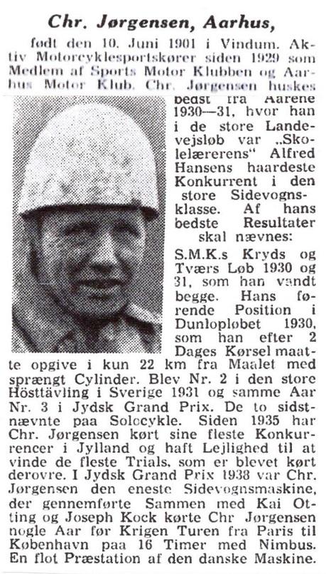"""En biografi fra Politikens """"Motorsportens Mænd"""" ."""
