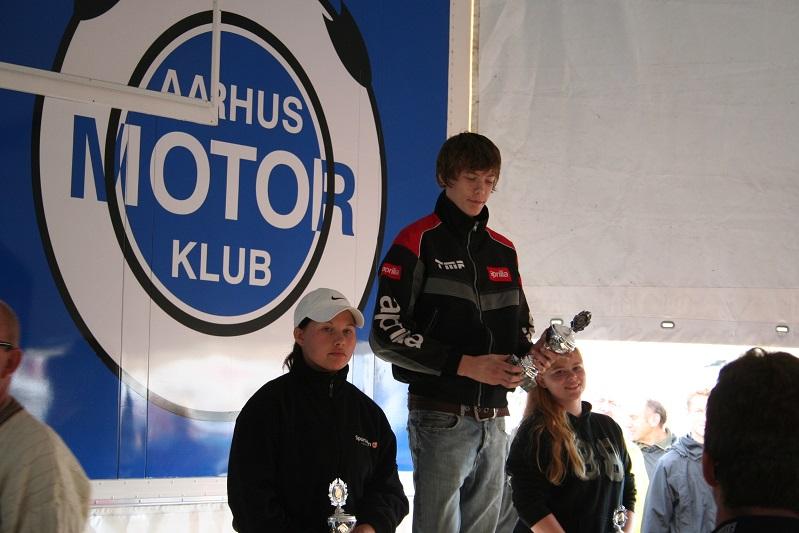Stocksport 125cc Junior. Steffen Carlsen vandt foran Nikoline Gregersen tv og Jeanette Dalager.