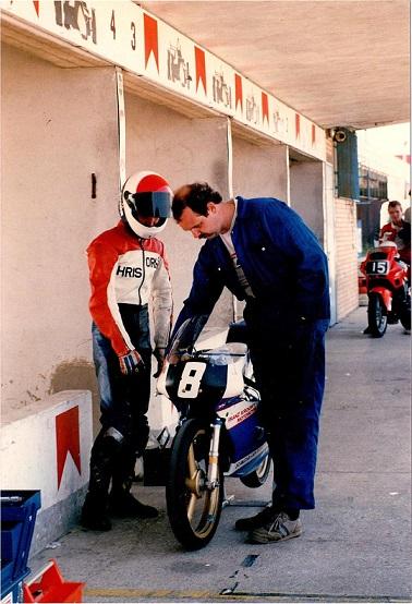 Misano-træningen 1988. Chris og Tommy i pitten.