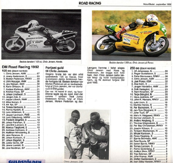 I 1992 kørte Chris DM i både 125cc og 250cc klassen. I 125cc fik han sin 3. titel, mens han blev nr.  4 i 250cc