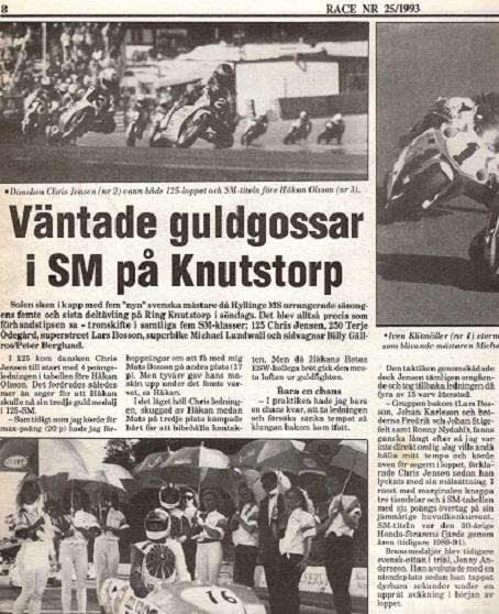 Det svenske blad Race omtaler her SM-finalen 1993, der gav Chris det 4. SM