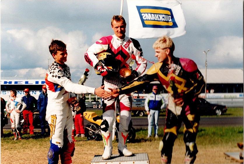 Chris vandt 125cc på Jyllands-Ringen foran Sonni Harms og Carsten Svendsen