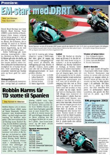 Samme blad bragte en omtale af EM-starten for DRRT.