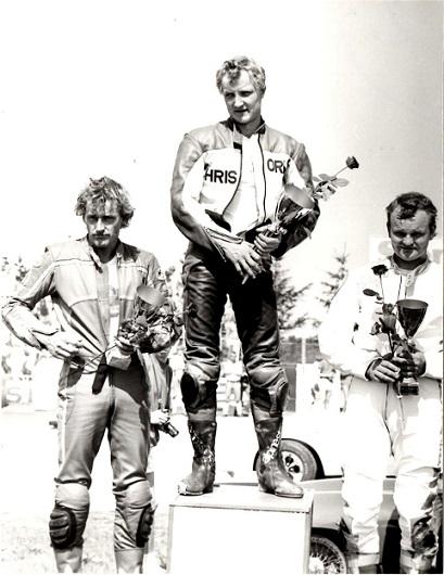 Chris fik sit store gennembrud, da han vandt NM afd. på Jyllands-Ringen i maj 88. Chris vandt foran Rosnell th og Jukka Vainio tv