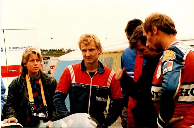 1986-08-16 RD img4. Slukørede miner. Fra venstre Pia, Chris, Ole Møller, Finn.