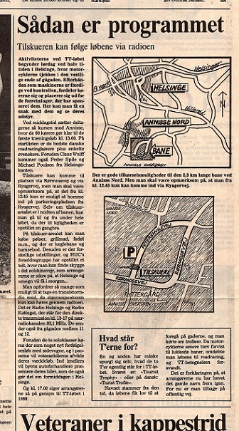 1988-09 Helsinge img4. Lokalavisen bragte en hel sides foromtale af løbet, hvor bl.a. banens beliggenhed og forløb blev illustreret.
