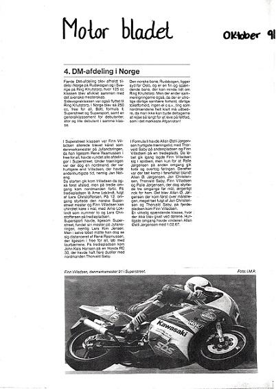 1991-10 MB. Omtale af DM-finalen på Rudskogen.