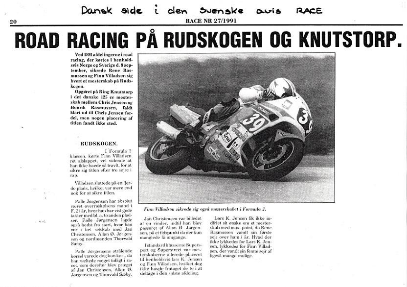 1991. Omtale af DM finalerne i Race.
