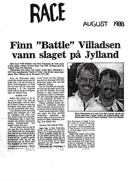 1988-08 JR img5. Det svenske blad Race bragte denne artikel fra løbet.