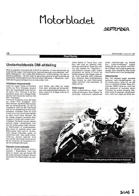 Omtale i Motorbladet af Finns fine dobbeltsejr på Anderstorp