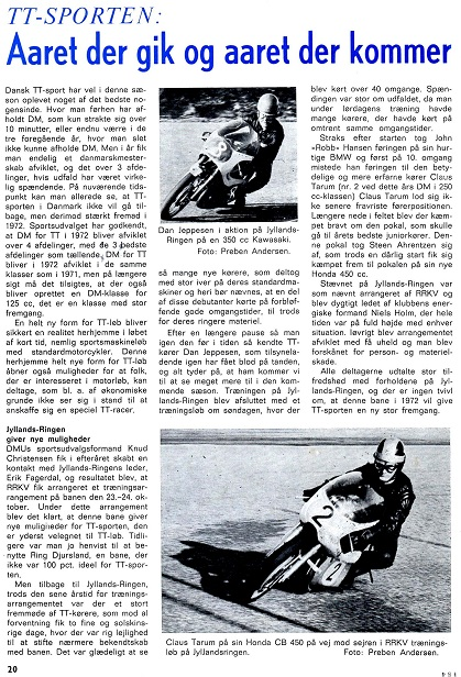 Motorbladets omtale af den første officielle træning på Jyllands-Ringen okt. 1971.