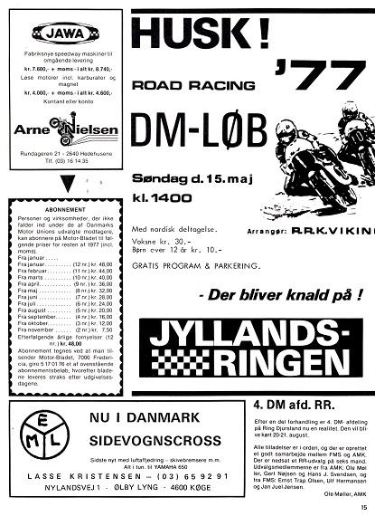 1977-05 MB Annonce 1. publ. løb JR